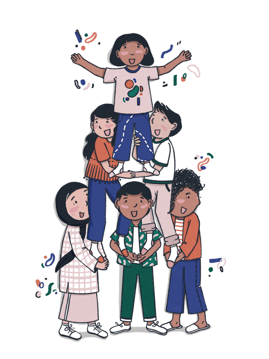 A group of people lifting and supporting each other (illustration)