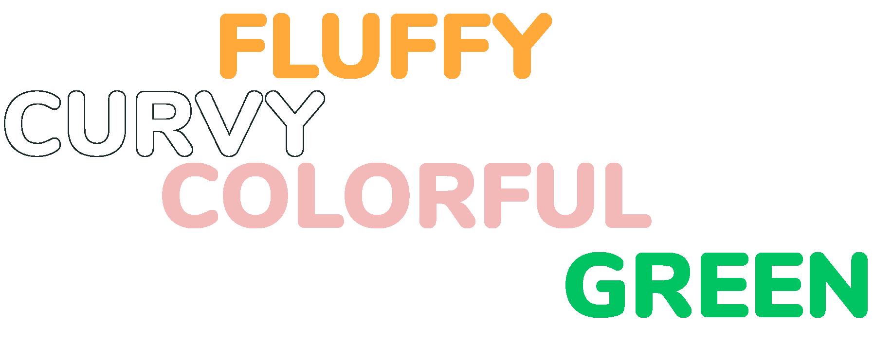 curvy fluffy colorful green