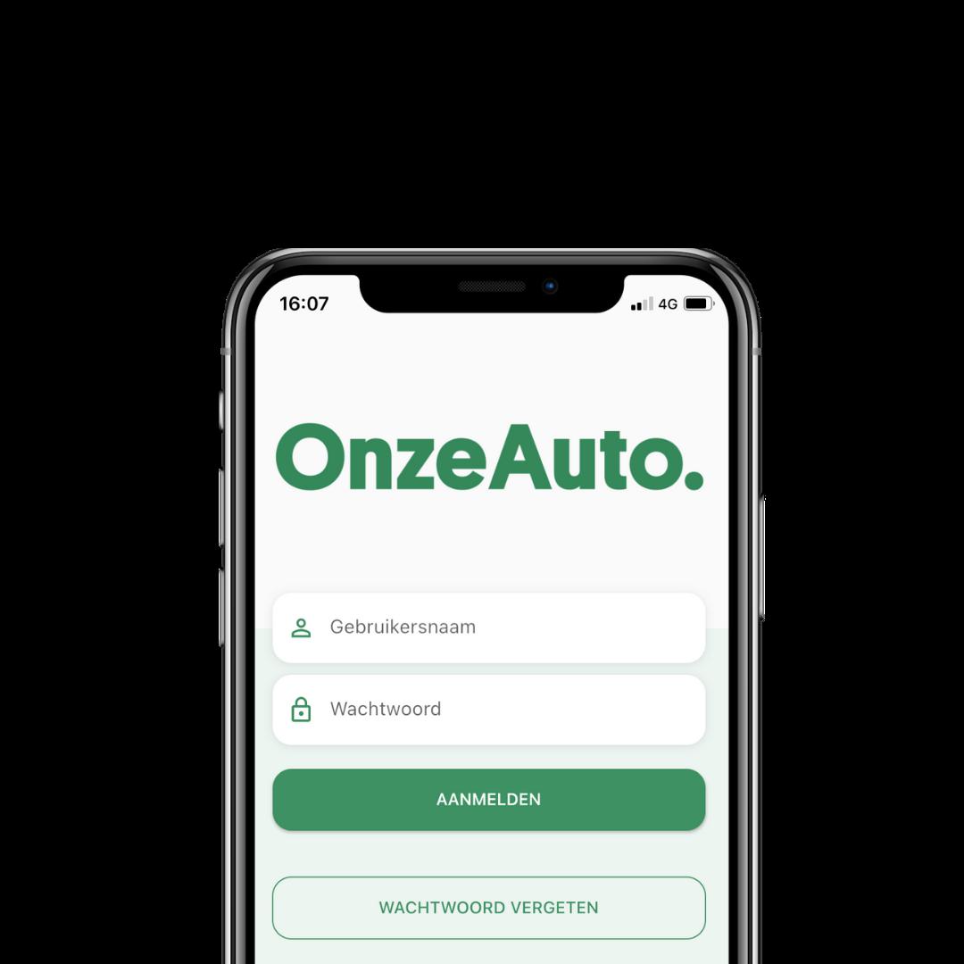Een telefoon met de app van OnzeAuto.