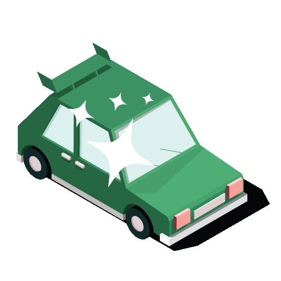 Illustratie van een nieuwe deelauto.