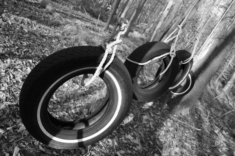 Black and white photo of tire swings by Anthony Pica