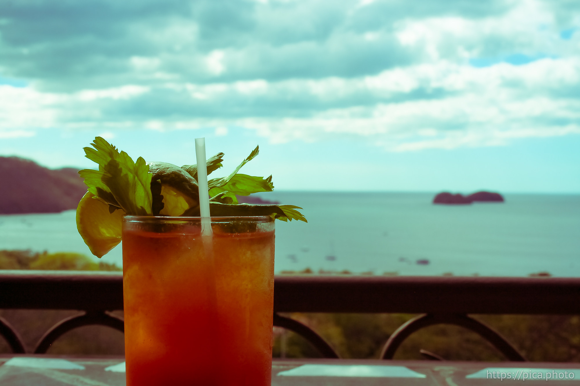 Bloody mary drink overlooking the ocean view