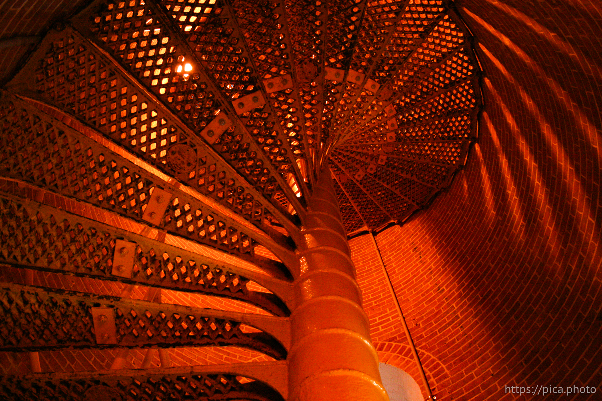 Red winding staircase