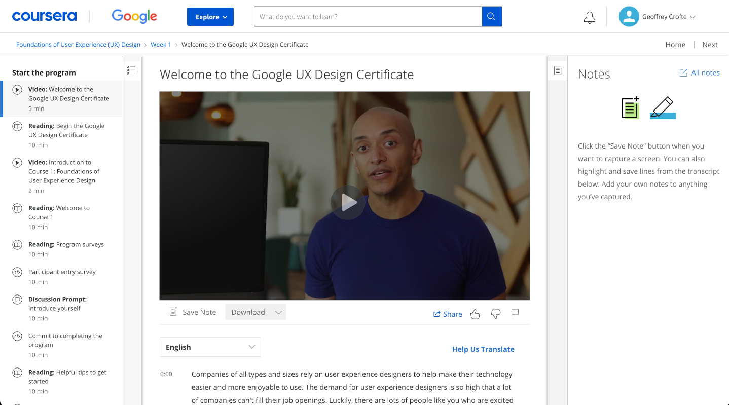 The course template page of Coursera