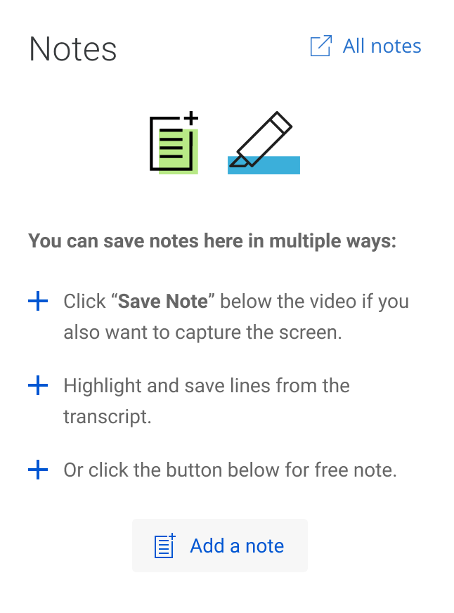 A solution for Coursera Notes Taking feature with a well designed indications