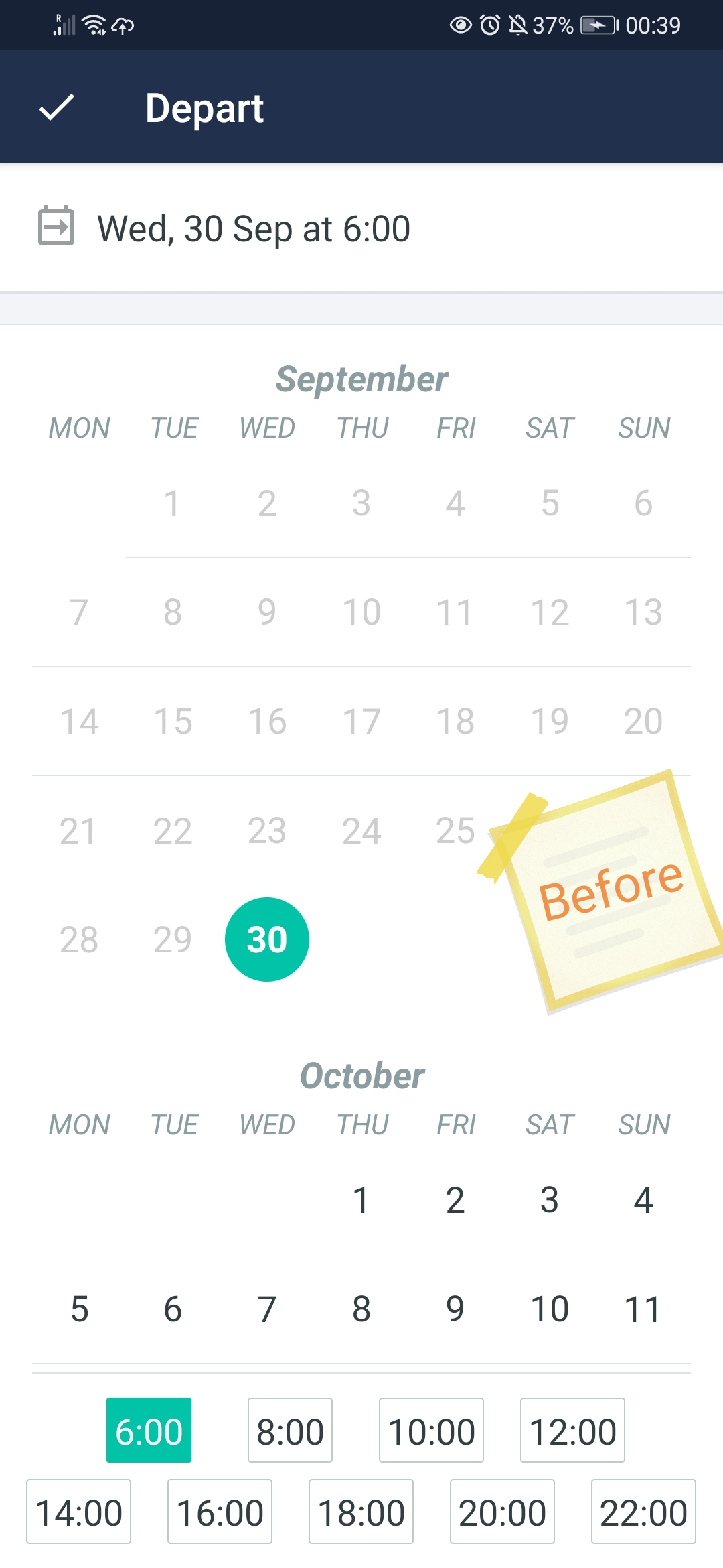 The old date picker for Trainline showing up a full calendar and some slots of hours. Handy.