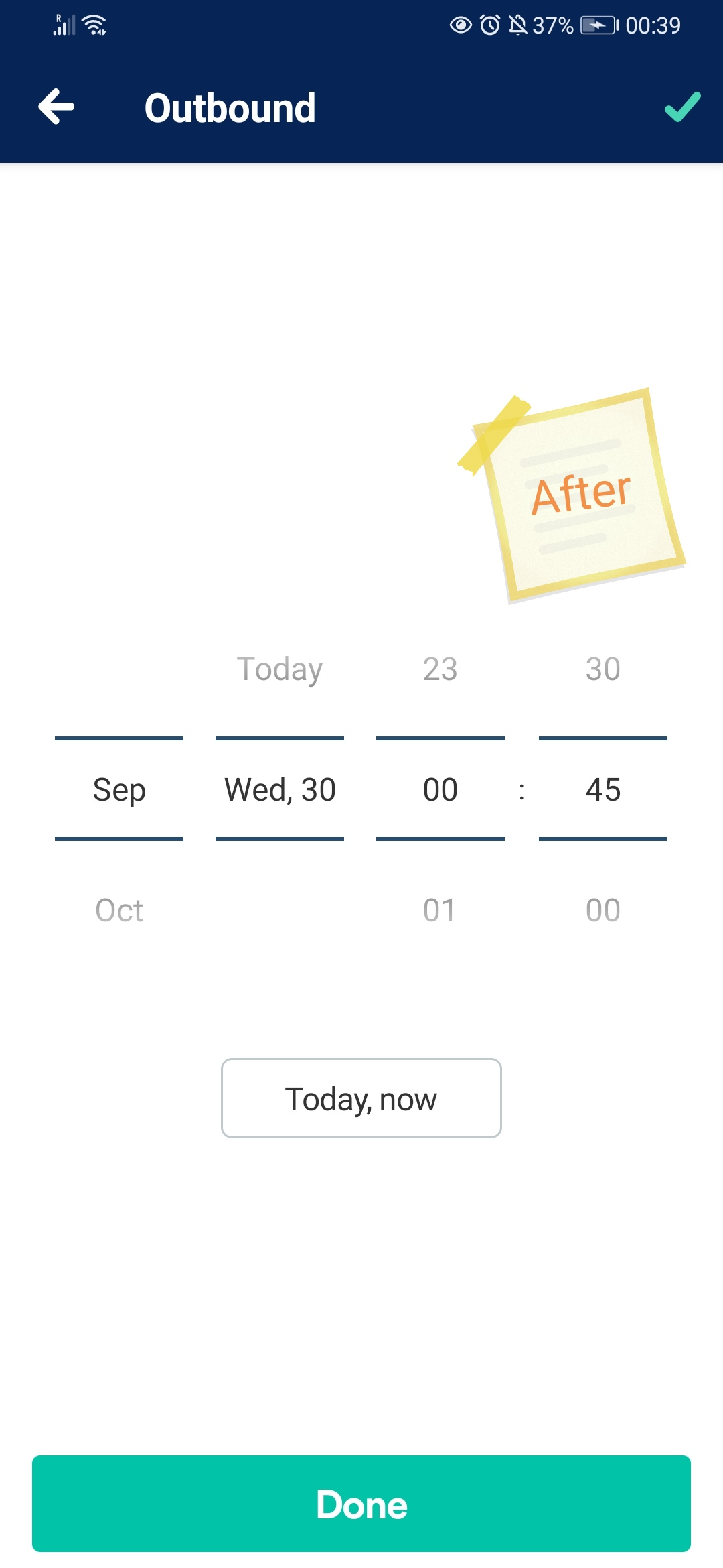 The new Trainline app date picker displaying 4 rotor picker to pick the month, day, hour, and minute