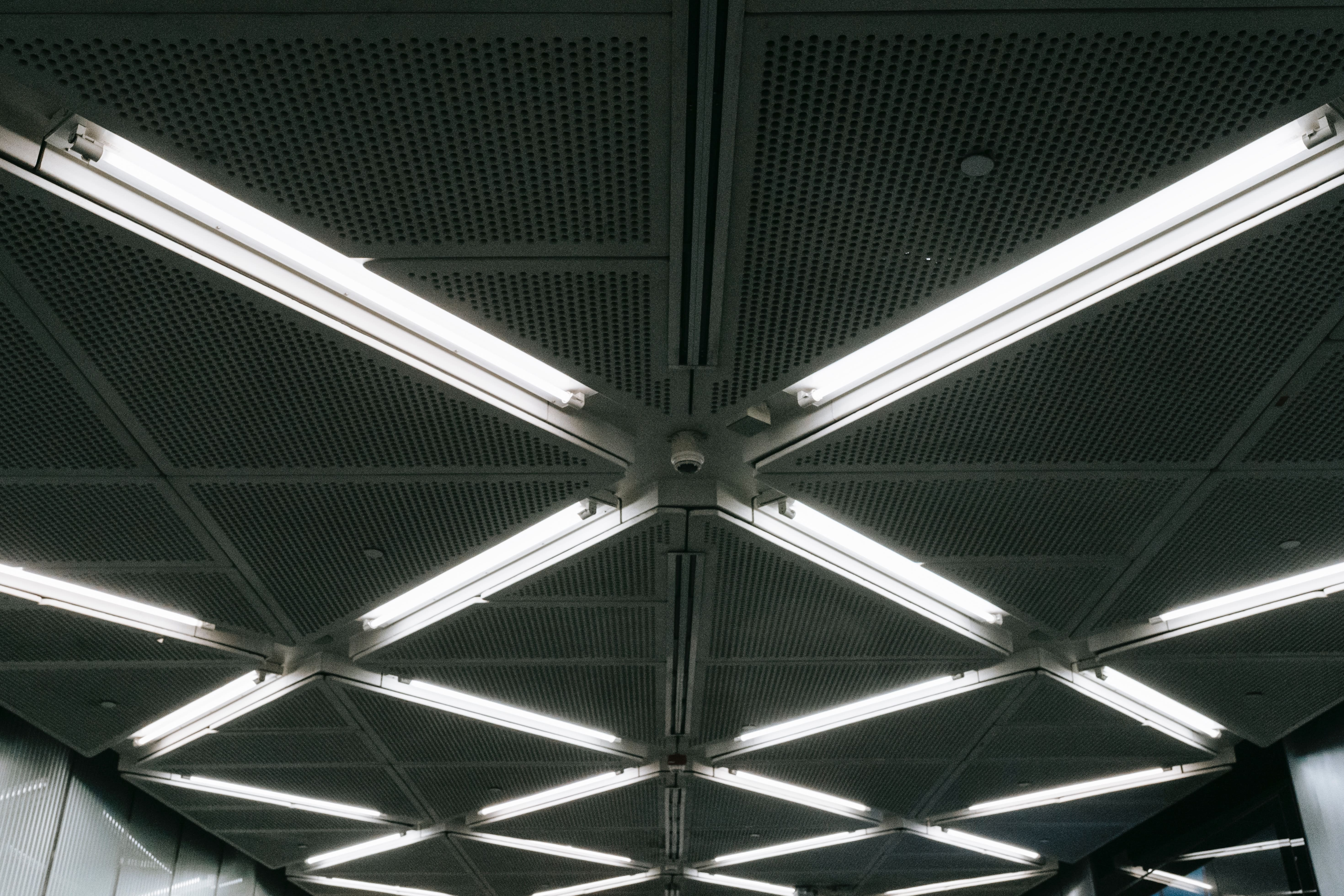 Commercial LED tube lights in an industrial building