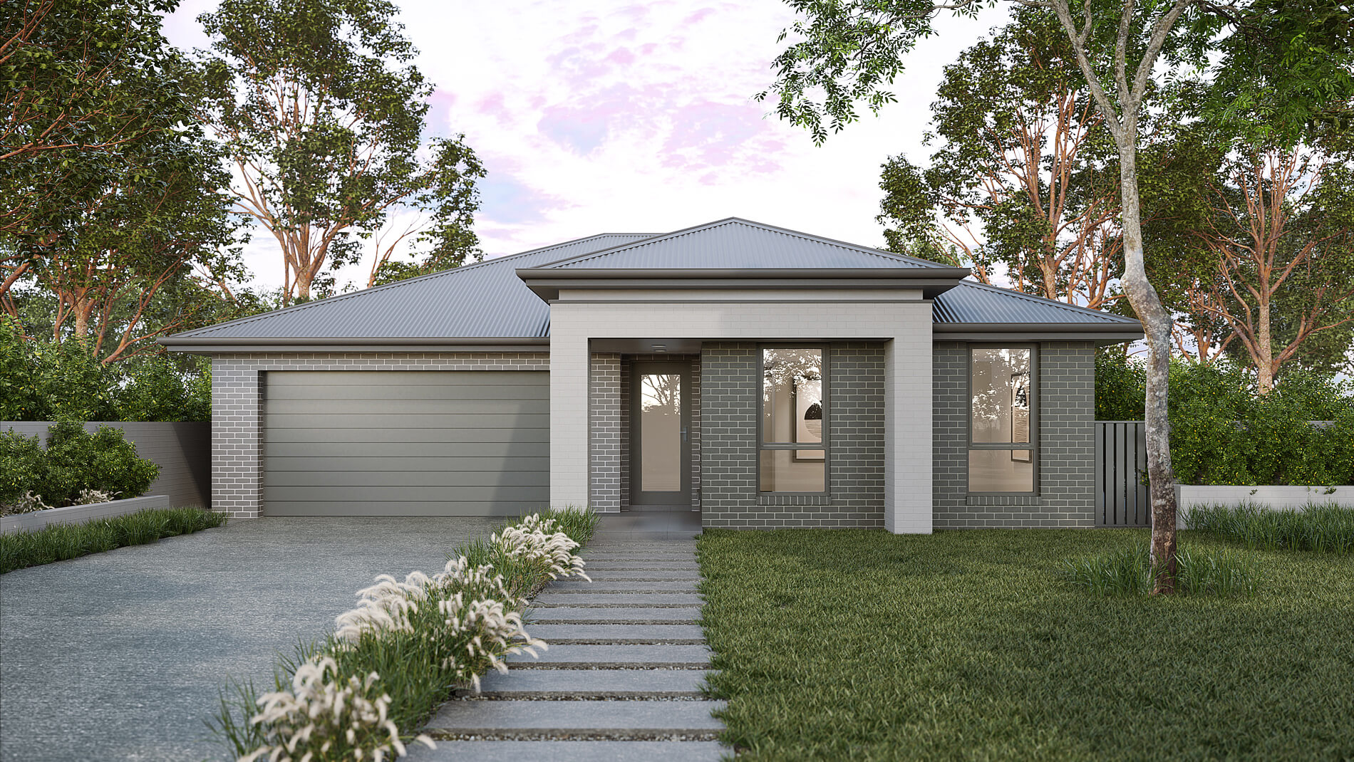 Versatile Homes Woodland Style Façade from our Luxe Collection. An ideal styling where to be located within a new or established leafy neighbourhood.
