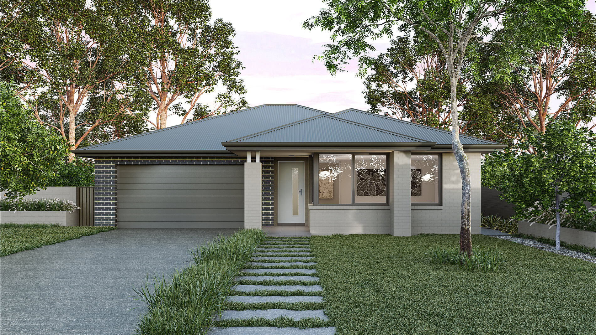 Versatile Homes Urban Style Façade from our Luxe Collection. This façade is clean and striking, placing it as a defining exclamation in any established neighbourhood or newly created estate.
