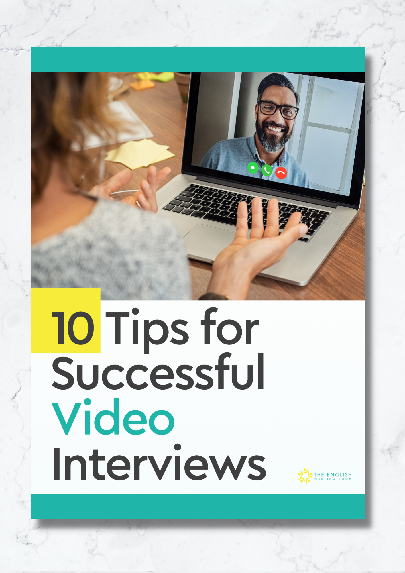 The cover of the guide with the title and an image of a woman being interviewed on a video meeting platform by a smiling and intelligent, middle-aged man.