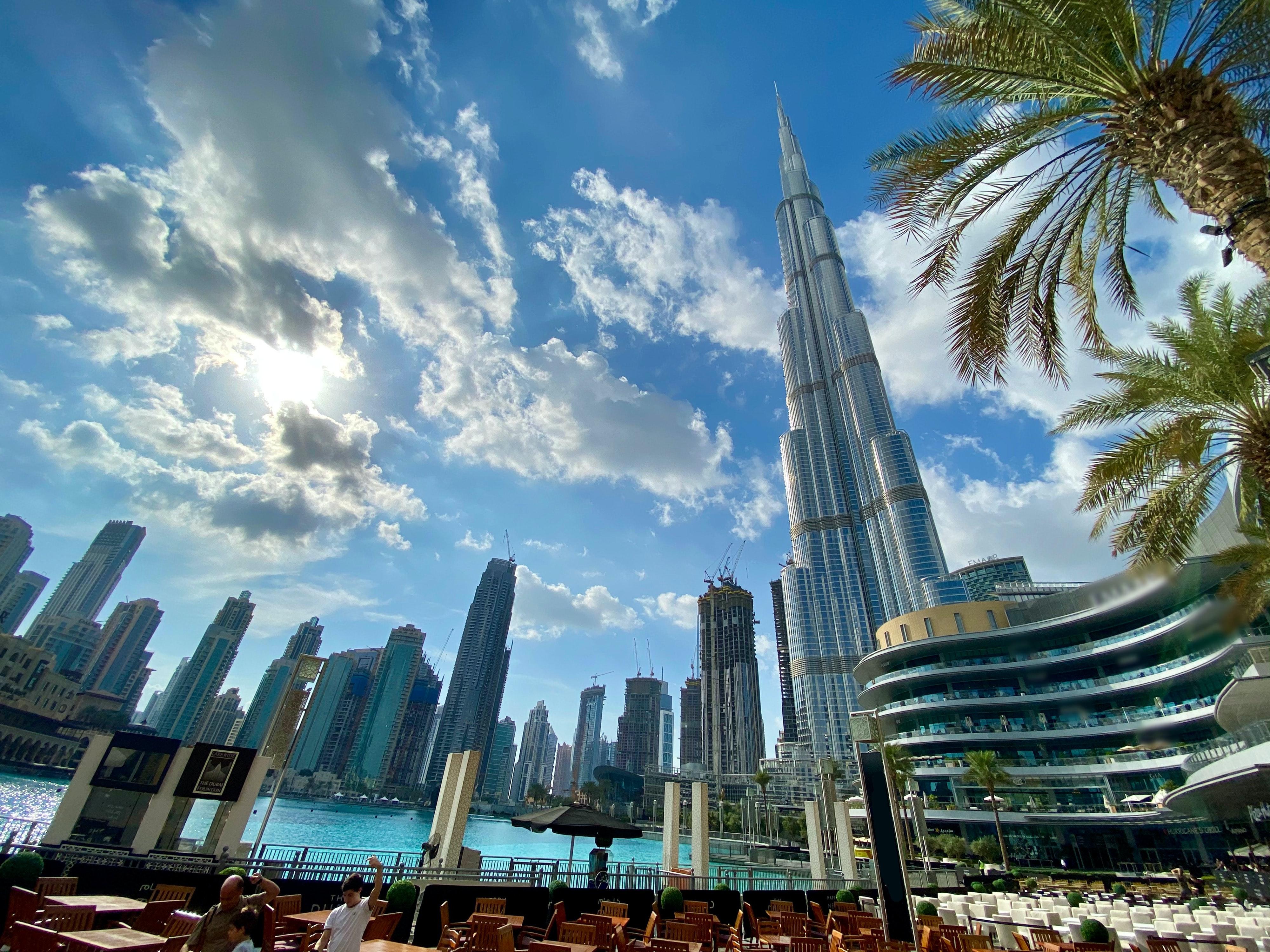 The image is of downtown Dubai, the Burj Khalifa, the Dubai fountains.