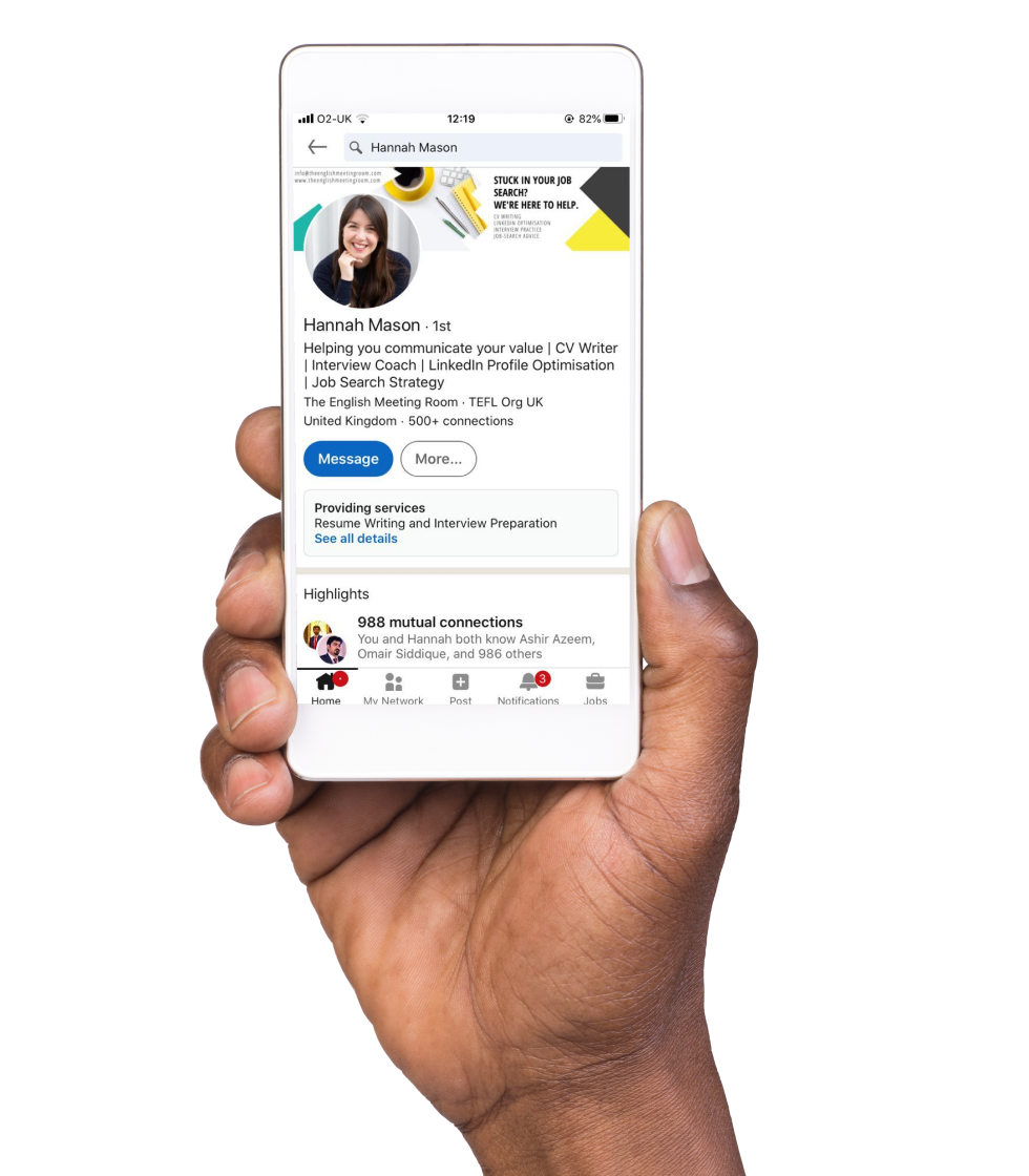 An image of a hand holding a mobile phone with Hannah's LinkedIn profile being displayed. Encouraging those to update and optimise their LinkedIn profile.