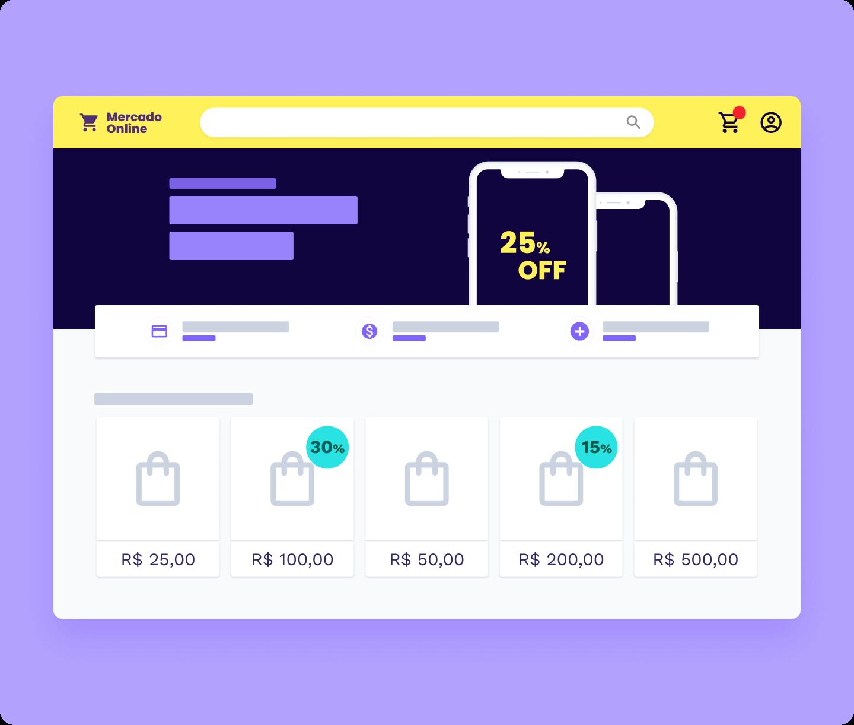 Ilustração site de e-commerce