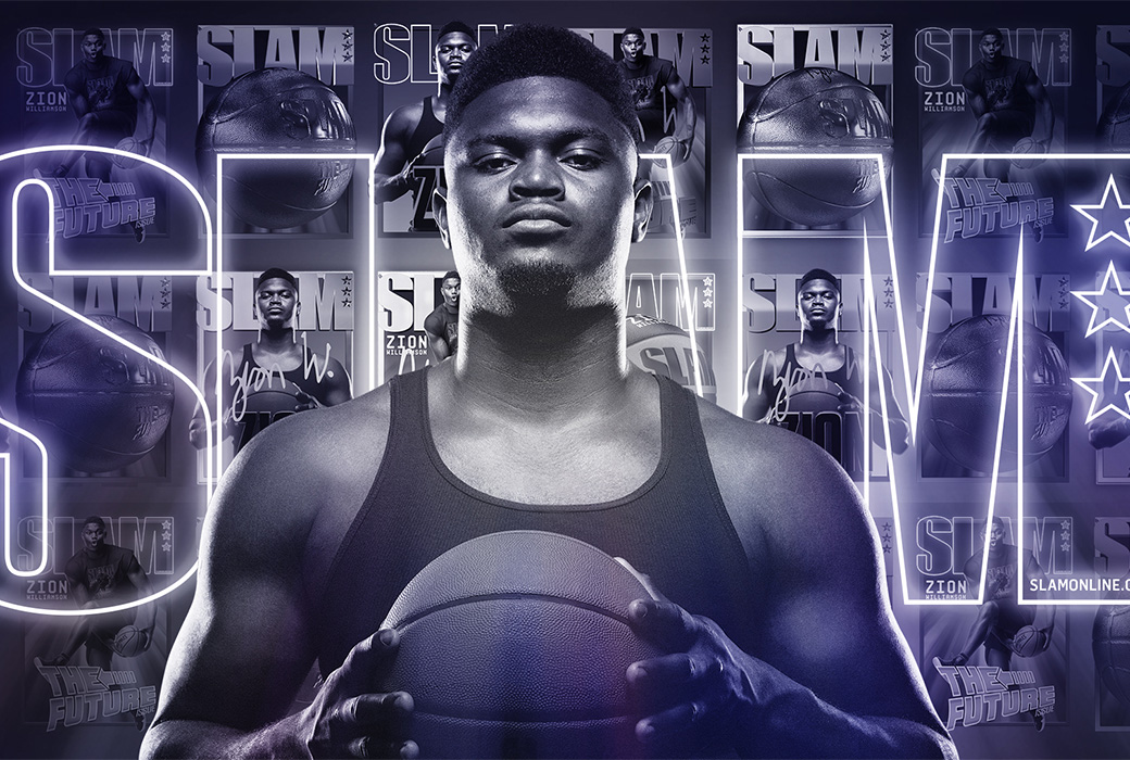 The collection, which includes four limited-edition versions of Zion's SLAM covers and digital basketballs, is available April 2 on OpenSea.
