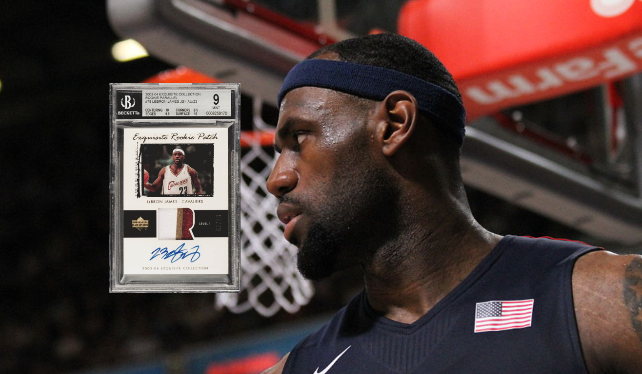 Basketball cards have a new king. A BGS 9 2003-04 LeBron James Exquisite Rookie Patch Auto Parallel card just went for over $5 million.
