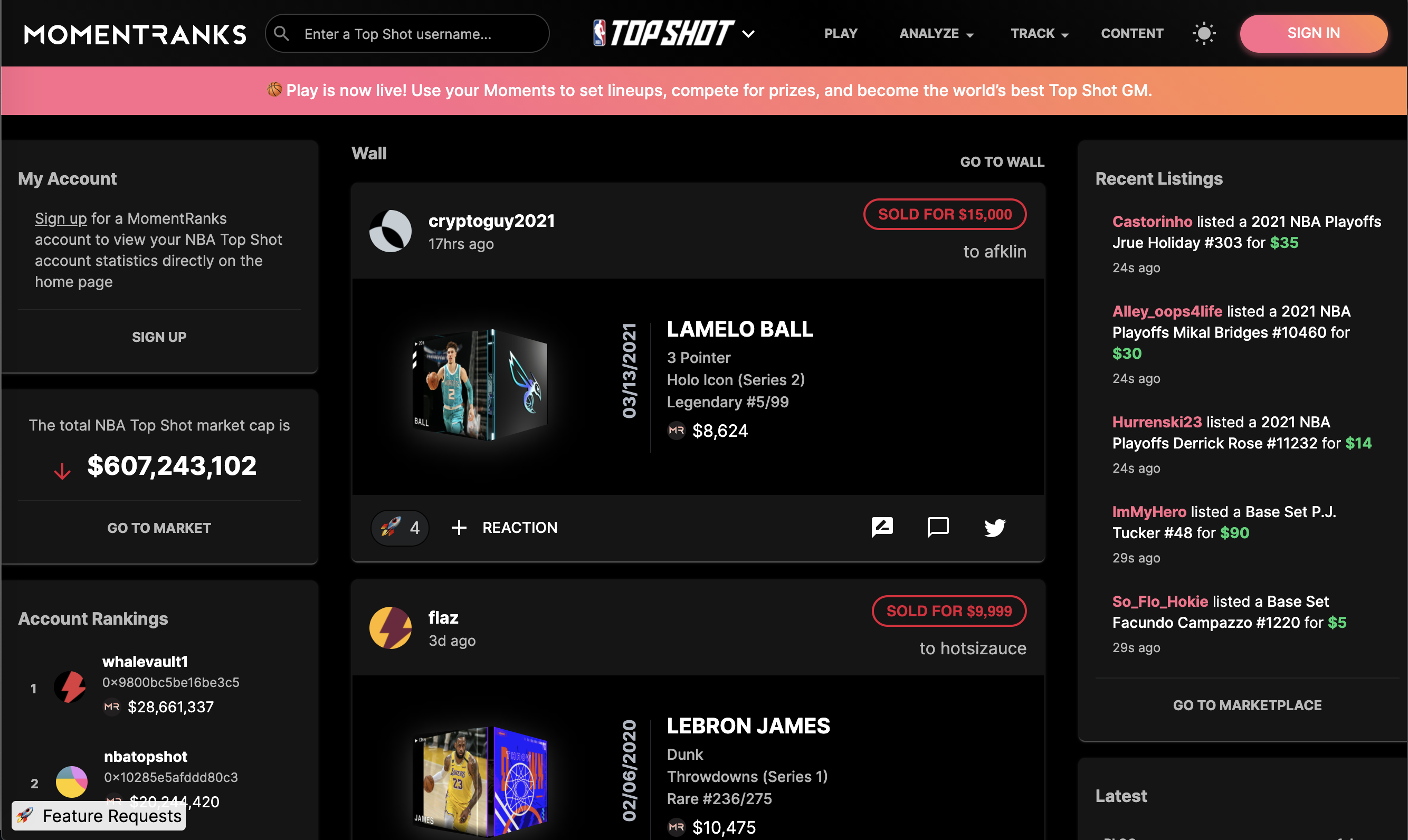 NBA Top Shot creator Dapper Labs has invested in MomentRanks, a rapidly growing sports NFT platform, which allows collectors to track, appraise and analyze NBA Top Shot Moments.
