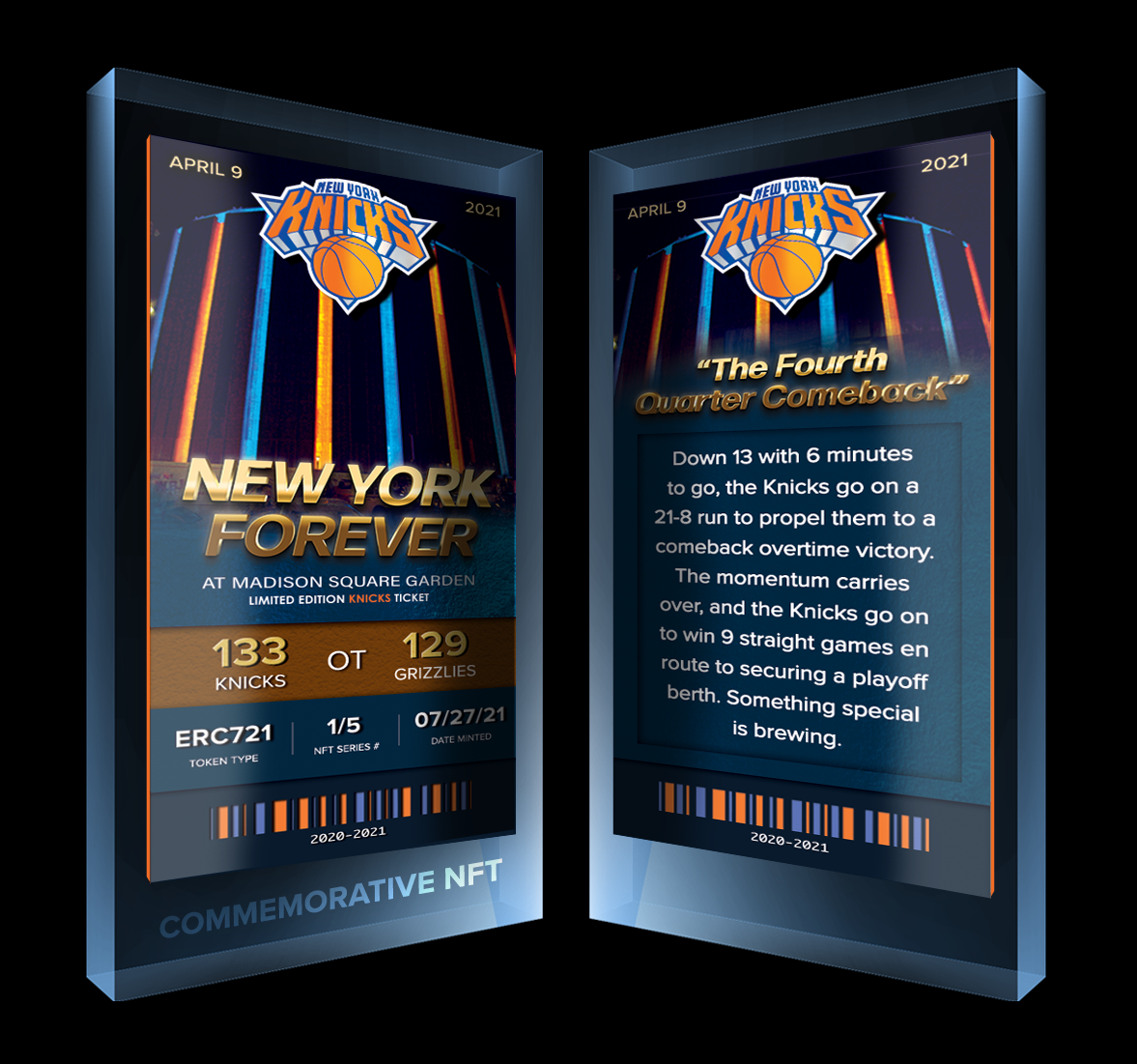 The new digital collectibles celebrate key moments from the team that brought excitement back to the Garden. Following a surprise 41-31 season that led to their first playoff appearance in eight years, the New York Knicks launched a series of limited-edition 3D NFTs on Tuesday centered around their biggest home wins from their standout 2020-2021 […]  The post Knicks Celebrate 2020-21 Season With First-ever NFT Collection appeared first on Boardroom.
