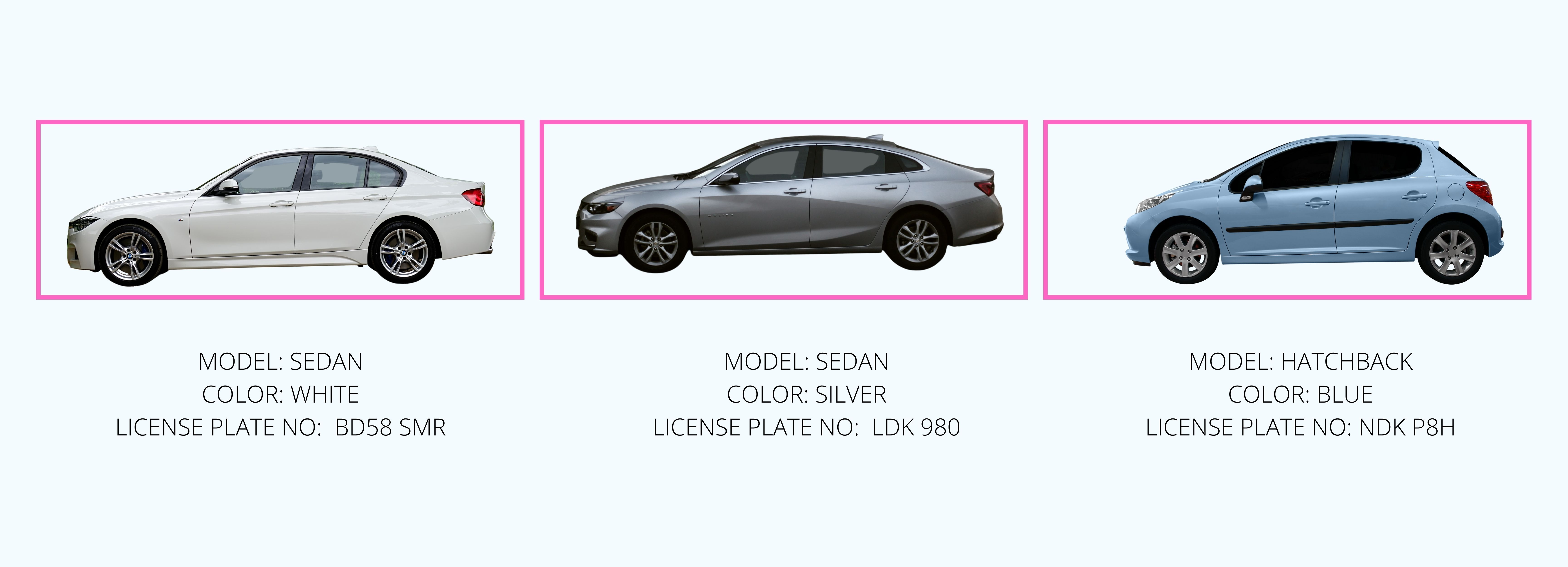 object identification of multiple cars