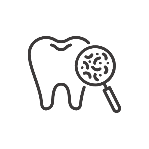 Magnifying glass bacteria on tooth