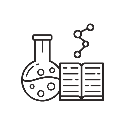 Science beaker molecule and text icon