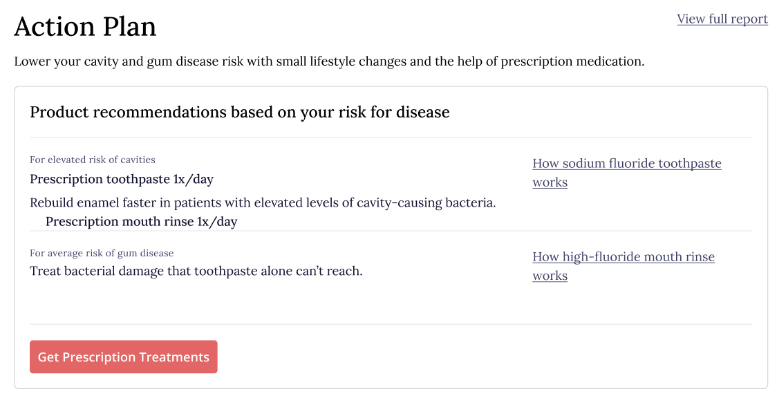 Bristle at-home oral health report action plan and next steps screenshot