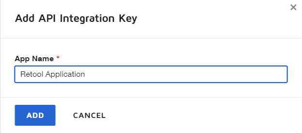 Image showing where to type in the App Name on the 'Add API integration Key' section of Docusign