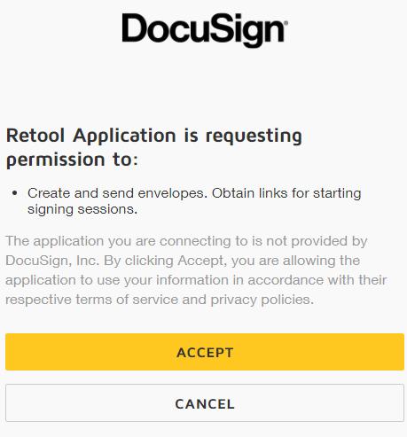 Docusign permission window
