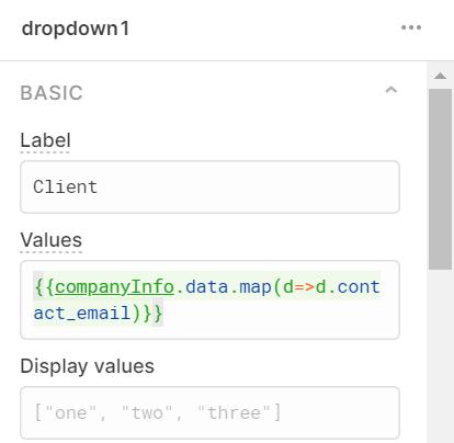 dropdown1 values in Retool
