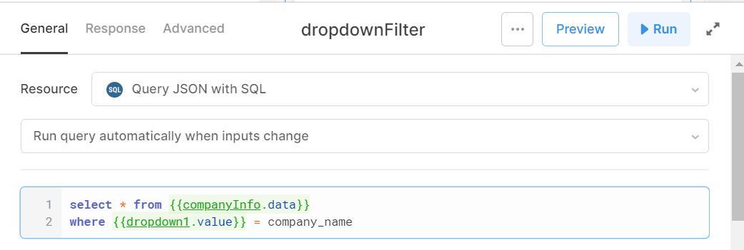 dropdown filter SQL query in Retool