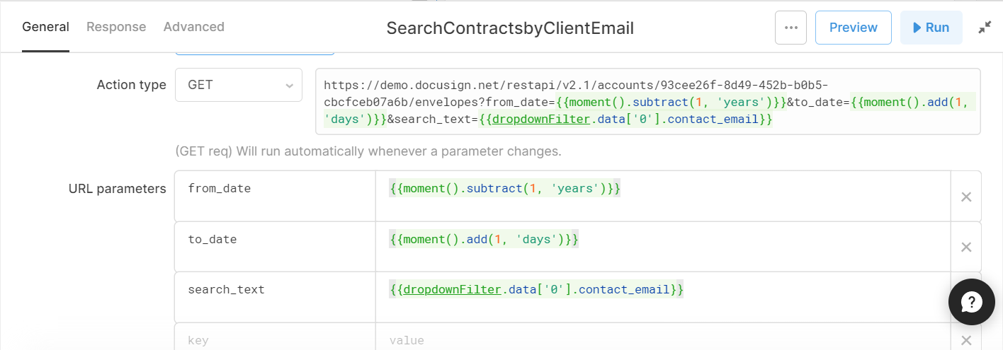 search parameters for a docusign get query