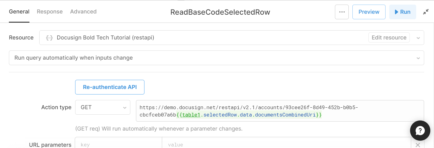 read base code of docusign contract for selected row query