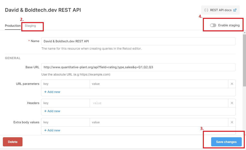 Retool REST API staging tabs resource window