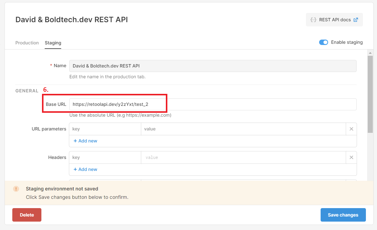Rest API Resource highlighting location of Base URL