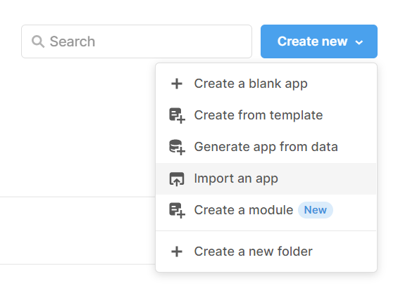 Dropdown menu within Retool, showing where to 'import an app'