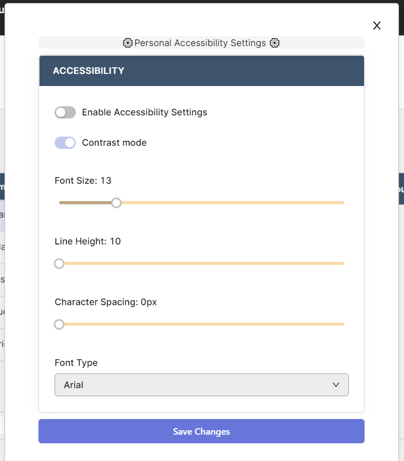 Settings modal within Retool, which allows users to enable settings, set contrast mode, change font size, type, height and spacing