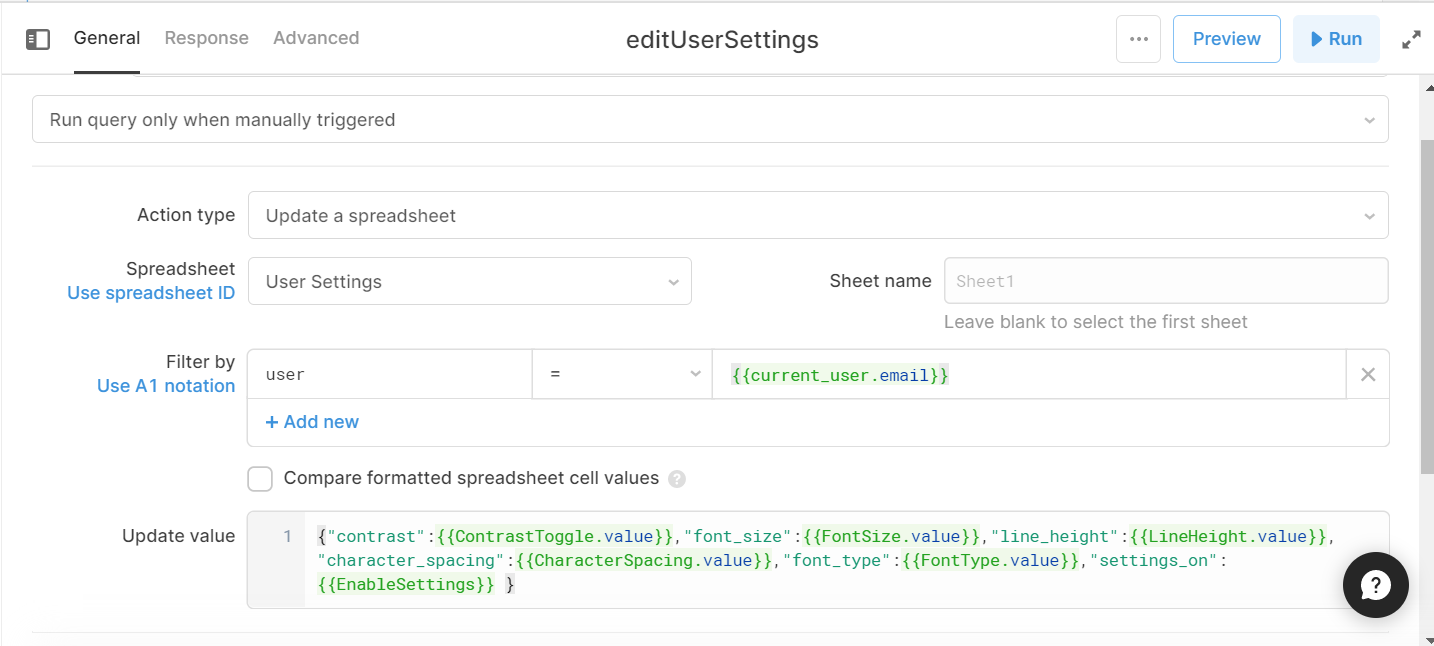 edit query for Google sheets, showing the user settings columns