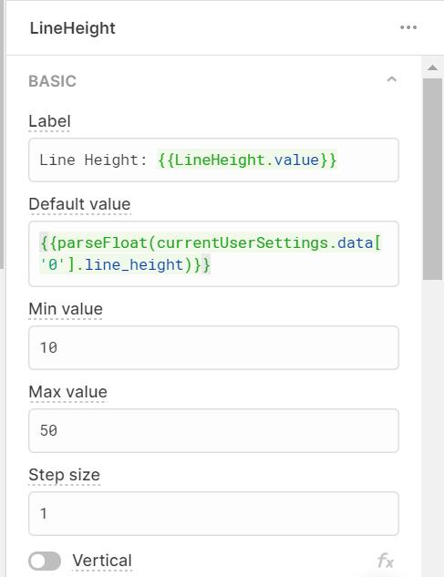 Retool component settings for line height slider