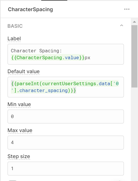 Retool component settings for character spacing slider