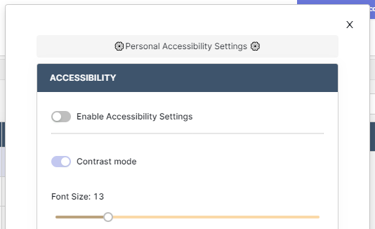 Settings modal with enable settings toggle