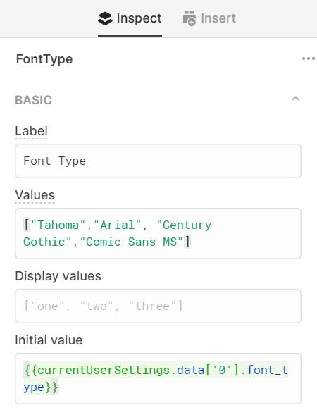 Retool component settings for font type slider