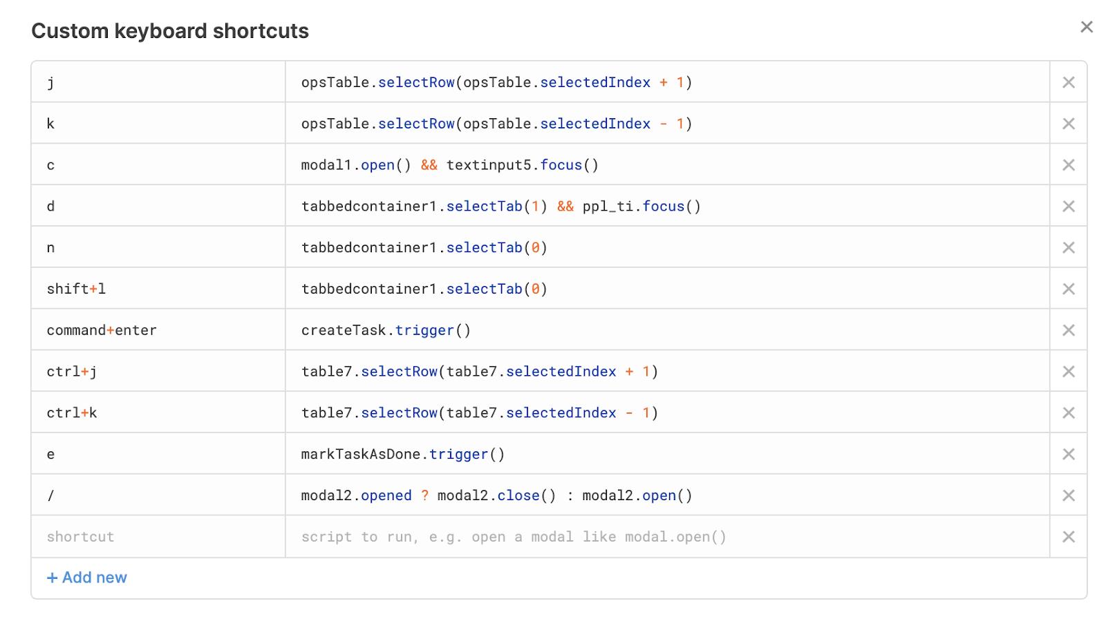 keyboard shortcuts example in Retool