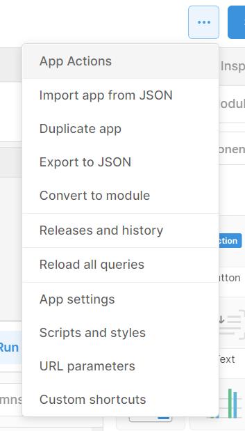 Dropdown which shows custom shortcuts