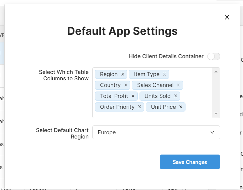 Settings in the app, a toggle for hiding a container, a multiselect with column header names, and a dropdown with regions