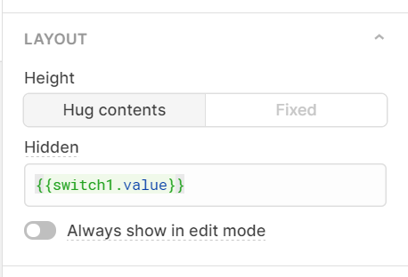 Retool settings, showing the code in the hidden value