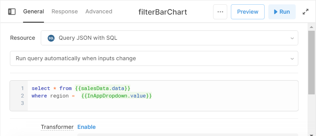 Screenshot of the SQL filter for the bar chart