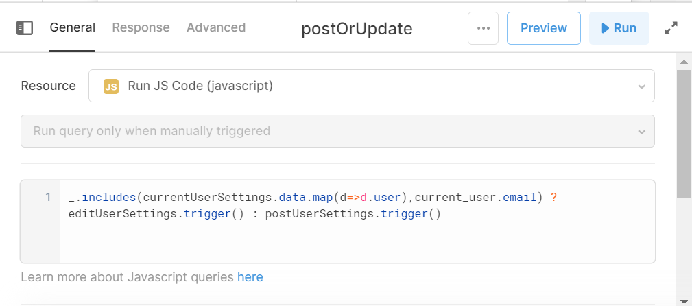 post or update JS code to choose queryt
