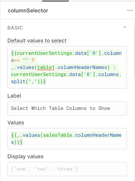 default values for the multi select component