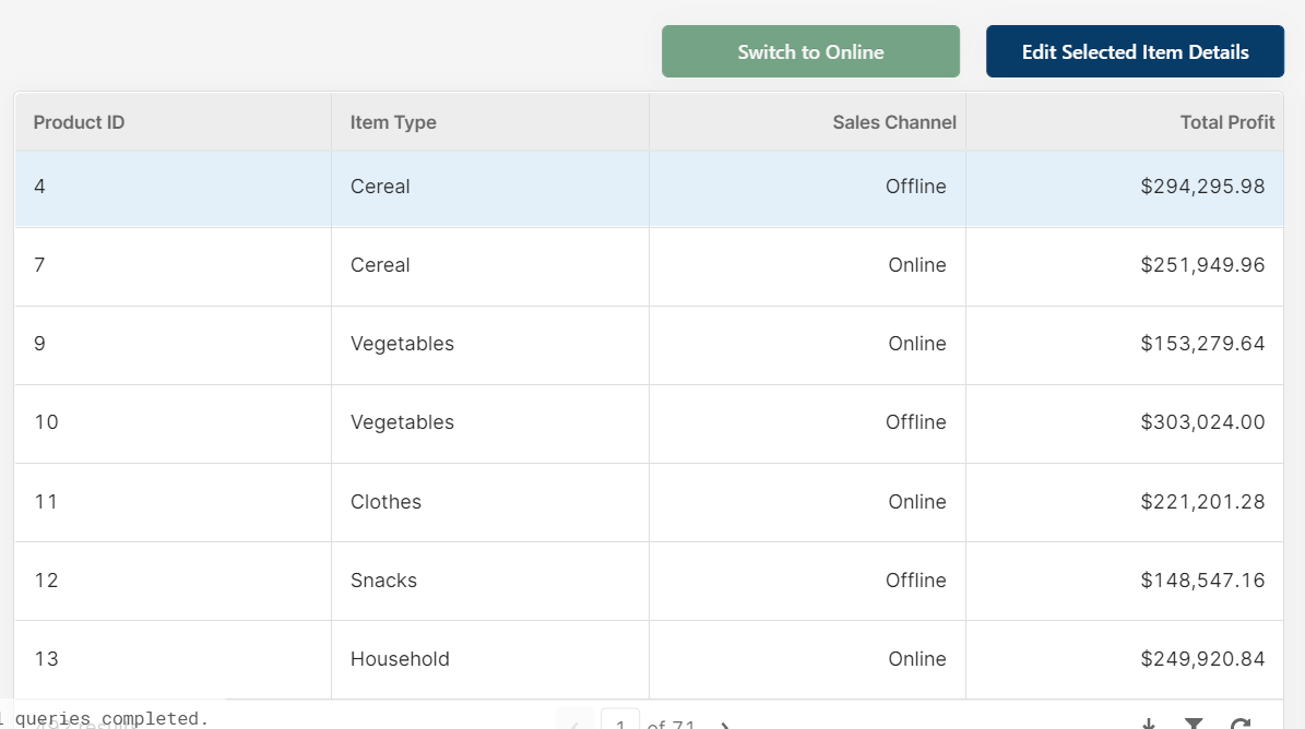a table component in Retool with a button above to edit details rather than in the table