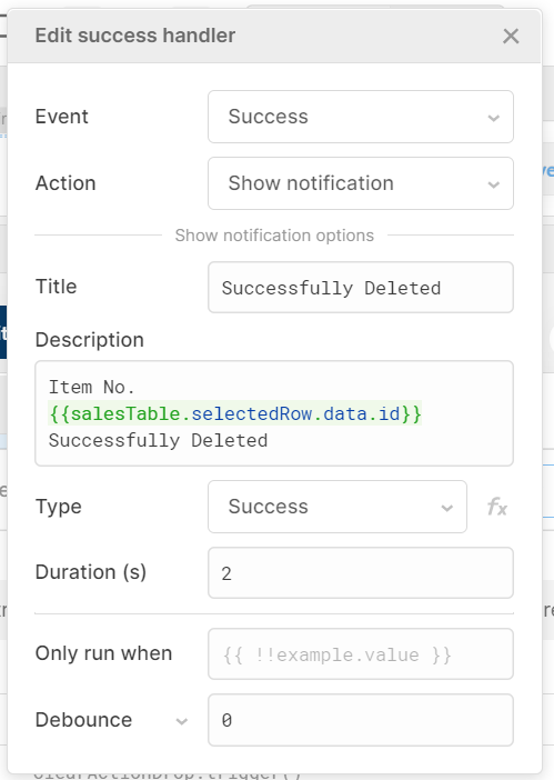 success handler which triggers a 'successfully deleted' notification on success